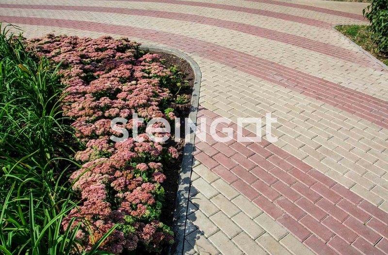 Тротуарная плитка Брусчатка 200*100*60 мм. Темно-красная (верхний прокрас, минифаска)