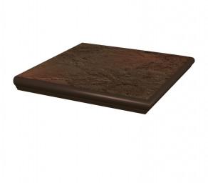 Угловая клинкерная ступень с капиносом Paradyz Semir Brown, 330*330*11 мм