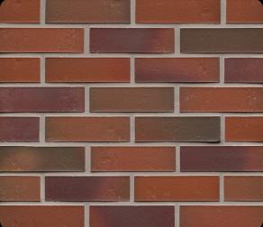 Клинкерная фасадная плитка Feldhaus Klinker R714 Accudo carmesi bluastro рельефная NF14, 240*14*71 мм